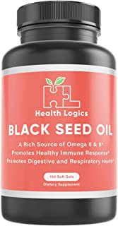 Health Logics Black Seed Oil, Cold Pressed, Rich Source of Omega 6 & 9 Essential Fatty Acids, From Nigella Sativa (100 Sof...