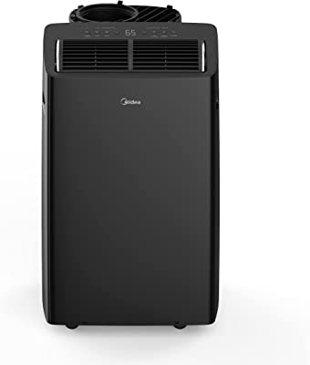 Midea Duo 12,000 BTU(10,000 BTU SACC)Ultra Quiet Smart HE Inverter Portable Air Conditioner,Dehumidifier,and Fan-Cools upto 450 sq.ft,Works with Alexa/Google Assistant Includes Remote Control,Black