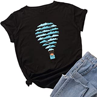 Winsummer Women Hot Air Balloon Print Graphic Tees Tops Funny T-Shirt Casual Short Sleeve Top Blouses