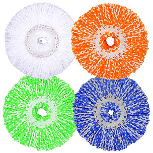 LEMNUY Spin Mop Heads Refills Set of 4, Microfiber Spinning Mopping Head Replacement Washable Reusable, Round Shape Standard Size, Cleaning Floor (Green, Yellow, Blue and White)