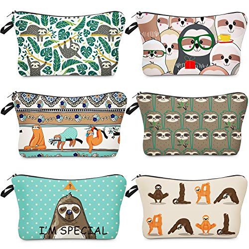 6 Pieces Makeup Bags Sloth Cosmetic Pouch Portable Zipper Toiletry Bag Sloth Sunflower Printed Travel Pencil Bags for Women (Sloth Design)