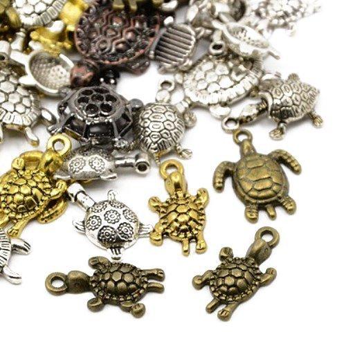 Paket 30 Gramm Gemischt Tibetanische ZufälligeMischung Charms (Schildkröte) - (HA07365) - Charming Beads