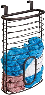 mDesign Metal Over Cabinet Kitchen Storage Organizer Holder or Basket - Hang Over Cabinet Doors in Kitchen/Pantry - Holds up to 50 Plastic Shopping Bags - Bronze