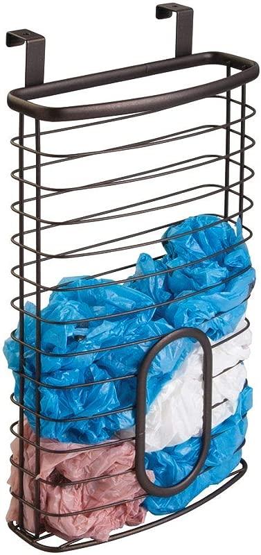 MDesign Over The Cabinet Plastic Bag Storage And Grocery Bag Holder Kitchen Storage Bronze