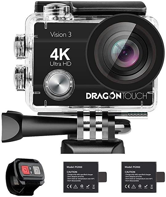 Dragon Touch Cámara Deportiva 4K WiFi 16MP Cámara de Acción con Control Remoto Cámara Sumergible Acuática 30m Impermeable 170° Gran Angular Videocámara con 2 Baterías Multi Accesorios (Vision 3)