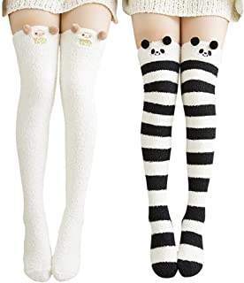 Wander G Womens Over Knee High Fuzzy Socks Cute Cartoon Thigh High Stockings Warm Stripe Leg Warmers