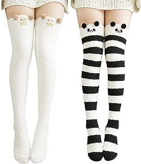 Womens Over Knee High Fuzzy Socks Cute Cartoon Thigh High Stockings Warm Stripe Leg Warmers