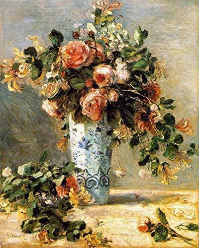 24 Renoir Gemälde auf Leinwand - 40€-1500€ Handgefertigte Ölgemälde - Roses and Jasmine in a Delft vase Blume Pierre-Auguste Renoir - Kunst Bilder -Maße03