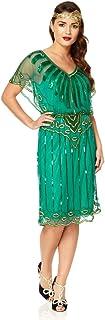 Angel Sleeve Vintage Inspired Flapper Dress in Emerald Green