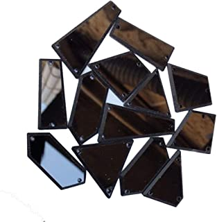 MEYA Mixed Color and Shape Sew on Acrylic Mirror Diamante Rhinestone Crystal Flat Back Mirror Beads With Hole For DIY Wedding Dress Clothing Bags Shoes Decoration (Black)
