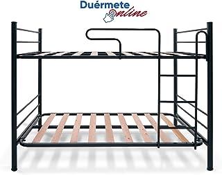 Duérmete Online Duérmete-Litera Junior Completa con Barandilla y Escalera Metálica, Gris, 90x190