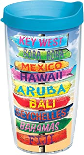 Tervis 1213221 Tropical Destination Signs Tumbler with Wrap and Turquoise Lid 16oz, Clear