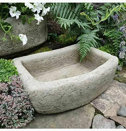 Par de comederos de corte áspero, adorno de jardín de piedra reconstituida