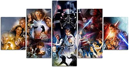 Modern printed 5 pieces canvas Wall art painting Star Wars character wall pictures for living room posters and prints artwork-With frame