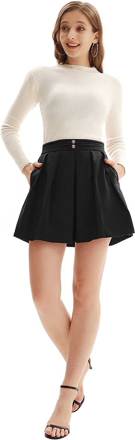 KANCY KOLE Women Skater Skirt A-line Flared Casual Pleated Tennis Skirt with Pockets