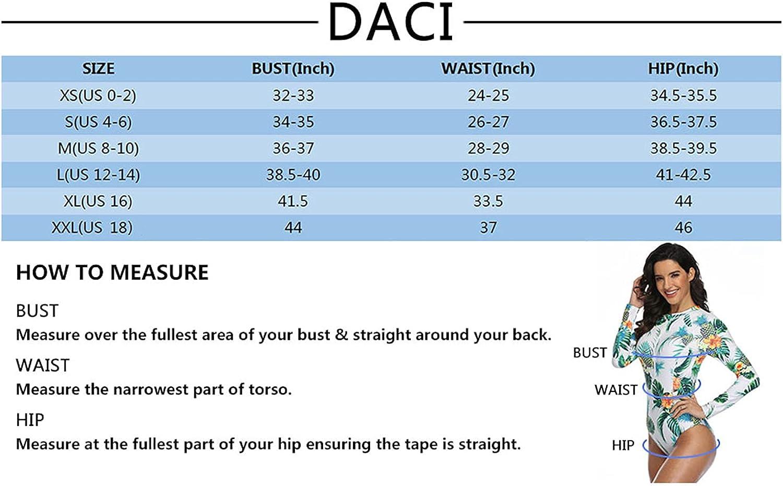 Daci Women Rash Guard Long Sleeve Swimsuits UV UPF 50+ Swim Shirt Bathing Suit with Boyshort Bottom