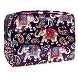 Makeup Bag Paisley Elephant Travel Makeup Bag Cosmetic Cases Organizer Portable Storage Bag Toiletry Bag 7.3x3x5.1in