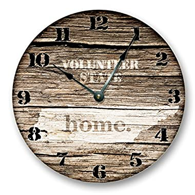 TENNESSEE STATE HOMELAND CLOCK -VOLUNTEER STATE - Large 10.5  Wall Clock - Printed Wood Image- TN_FT