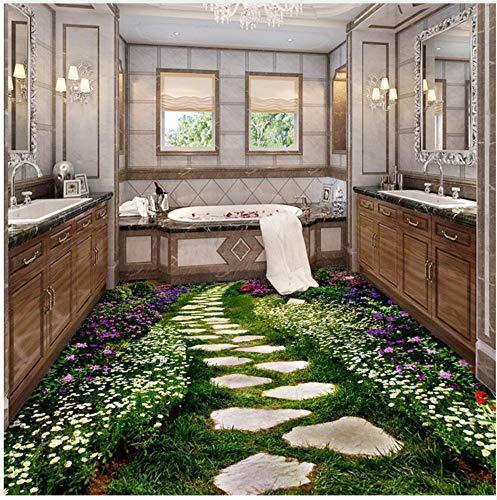 WH-PORP Bodentapete Blume Kleine Straße Toiletten Badezimmer 3D Boden Aufkleber Malerei Tapete Pvc Selbstklebende Wandpapier Wandbild-128cmX100cm