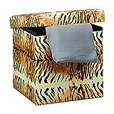 Relaxdays Faltbarer Sitzhocker 38 cm Stabiler Falthocker mit trendigen Motiven als praktische Ablage als Sitzwürfel mit bedrucktem Kunstleder als Aufbewahrungsbox mit Stauraum und Deckel,...