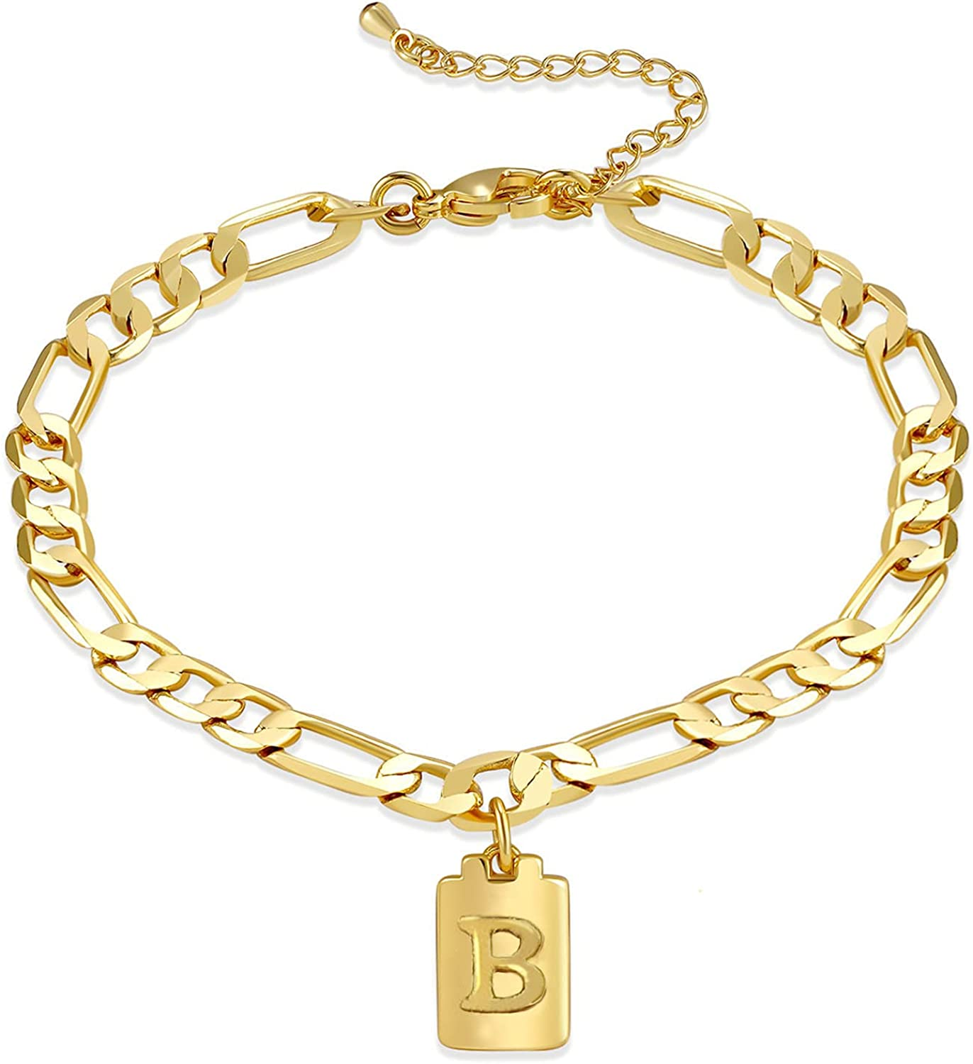 CILILI 18K A surprise price is realized Gold Plated Over item handling Lock 26 Charms Initial Link Figaro Anklet