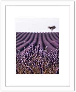 Humble Chic Framed Wall Decor - Art Picture Poster Matted in White Frame for Home Decorations Living Dining Room Bedroom Kitchen Bathroom Office - Lavender Field Flowers, 11x14 Frame with 8x10 Print