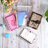 MLOPPTE Caja de regalo de cuenta manual,A5 A6 A7 PVC Arco Iris Transparente Cuaderno diario Cubierta Brillo Hoja suelta Cuaderno Planificador Clip Suministros de oficina A5 Cubierta negra
