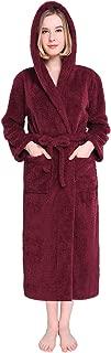 Vislivin Womens Hooded Robes Plush Bathrobe Warm Fleece Robe