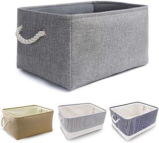 Mangata Boîte de Rangement Pliable en Toile épaisse avec poignées en Corde (Lavable, Gris, Petit)
