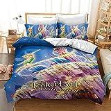 Fgolphd Tinkerbell - Juego de cama y funda de almohada con impresión digital 3D, microfibra, para niñas y adolescentes (9,Double 200 x 200 cm)