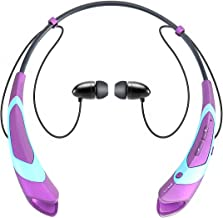 Bluetooth Earphone Headphones,V4.1 Stereo Noise Cancelling Wireless Headset, Sport Neckband Style Magnetic Earbuds with Mic for iPhone Series and Android Phones (Purple)