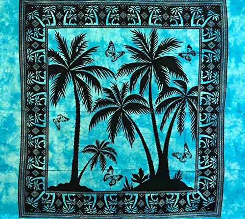 Telo Arredo Copritutto Grande 3 Palme 210x230 cm 100% Cotone Indiano StampatoBatik Indiano Copri Divano Gran Foulard (Azzurro)