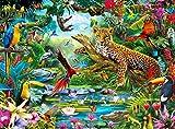 Buffalo Games - Vivid Collection - Leopard Jungle - 1000 Piece Jigsaw Puzzle, Multicolor