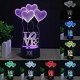 Hui Yuan 3d lámpara de mesa LED luz de noche ilusión óptica efecto Glow luces mando a distancia Control táctil amor corazón modelo 7colores cambios mejores regalos para niños niñas amantes San Valentín y sala & Dest decoración de la boda