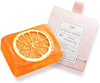 VanillaBerry Handmade 100% Organic Natural Tablet Soap Bar 100g - 02. Sweet Orange Day (sulfation, vitamin C, treating freckle)