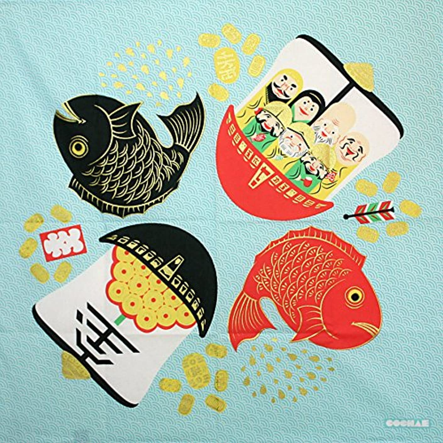 受けるスローくちばし70 福コチャエ 七福神と鯛 ミズイロ 風呂敷