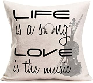 Aremetop Violin Throw Pillow Cushion Cover, Life is a Song Love is The Music Themed Quote Saying with Headphones Violoncello Pattern, Cotton Linen 18x18 Inch Square Accent Pillow Case for Sofa Couch