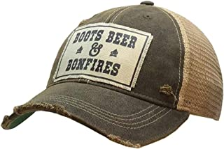 VINTAGE LIFE Distressed Washed Fun Baseball Trucker Mesh Cap (Boots, Beer, Bonfires (Black))