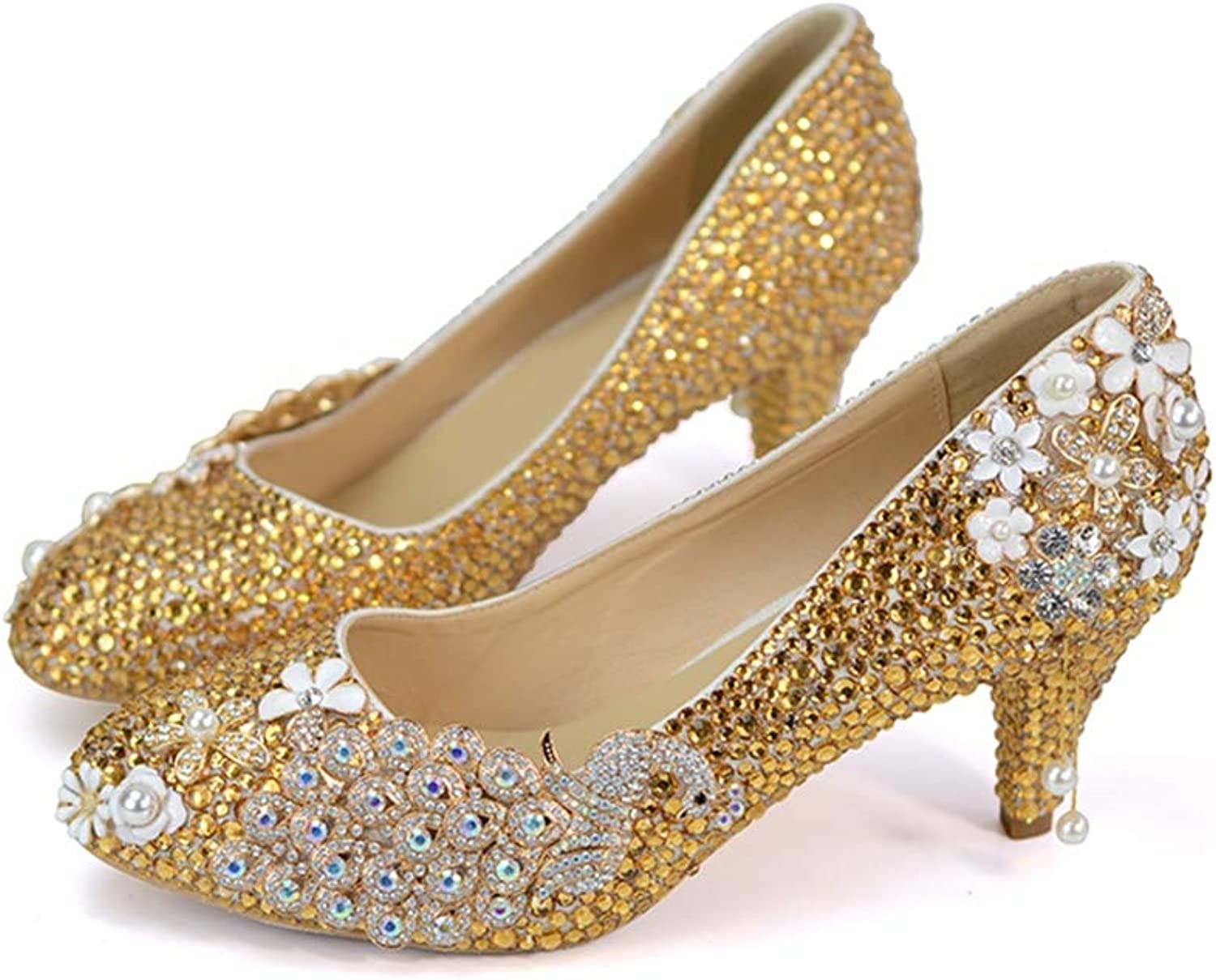Sparrow Rhinestone Pumps Wedding Party shoes Pointed Toe Graduation Prom Dancing shoes Mother of Bride shoes