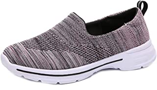 AUCDK Women Slip On Sneakers Breathable Knit Fabric Loafers Walking Running Fitness Casual Sports Shoes