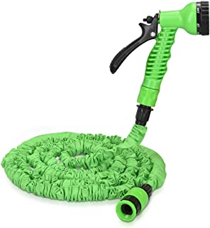 Navaris 25ft Expandable Garden Hose - Flexible Water Pipe with 7 Pattern Spray Gun - No Kink Lightweight Hose for Washing Car, Gardening - Small