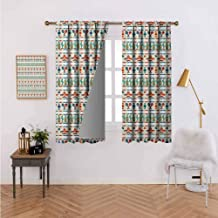 Decorative Curtains for Living Room Latin American Cultural Native Borders Indigenous Saguaro Sombrero Tequila Bottle Multicolor Thermal Insulated Blackout Curtains 120