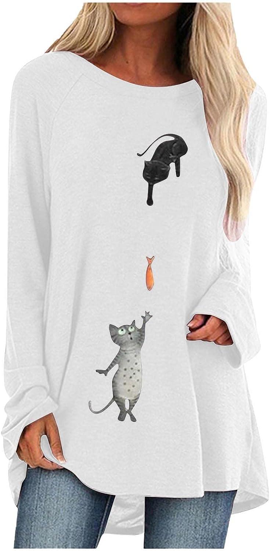 ODJOY-FAN Womens Casual Crewneck T-Shirts Loose Short Sleeve Long Tunic Printed Tops Oversized Shirts