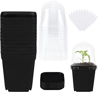 Elcoho 12 Pack Plant Nursery Pots with Humidity Dome 4 Inch Square Flower Pot Soft Gardening Pot Plastic Planting Containe...