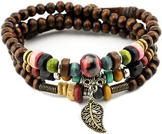 Handmade Vintage Leaf Pendant Tibeten Color of Strand Wooden Beads Bracelet Necklace