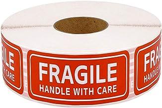 Balacoo 500Pcs Fragiele Labels Rode Breekbare Stickers Handvat Met Zorg Waarschuwing Verpakking Verzending Label Permanent...