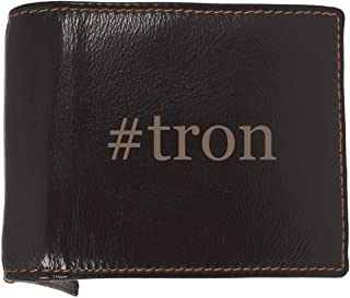 #tron - Soft Hashtag Cowhide Genuine Engraved Bifold Leather Wallet