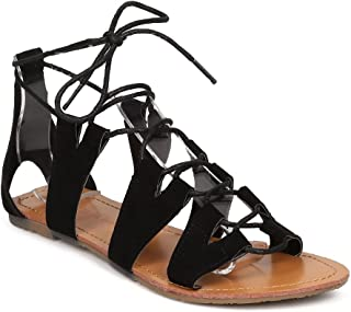 Women Faux Suede Open Toe Lace Up Gladiator Sandal GD82
