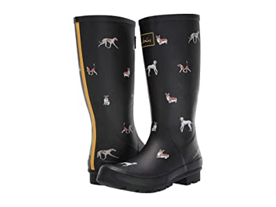 Joules Roll Up Welly (Black Dog) Women