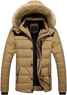 Men's Winter Button Zip Warm Faux Fur Trimmed Hood Long Sleeve Casual Cotton Down Coats Tops